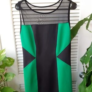 New Geometric Green and Black Body Fit Dress